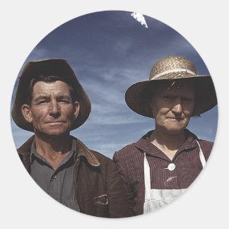 Homestead Farmer & Wife Round Stickers