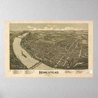 Homestead Pennsylvania 1902 Antique Panoramic Map Poster