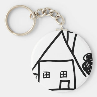 homestead with tree icon keychain