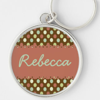 Hometown Wishes Polka Dot Personalized Keychain