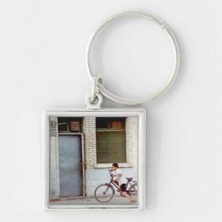 Homeward Bound Silver-Colored Square Keychain