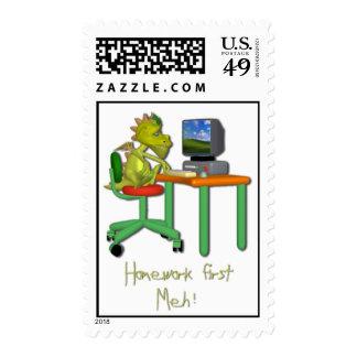 Homework First Meh! Postage Stamp