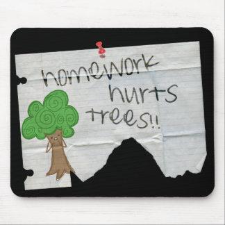 homework hurts trees mousepad