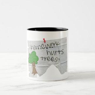 homework hurts trees mug