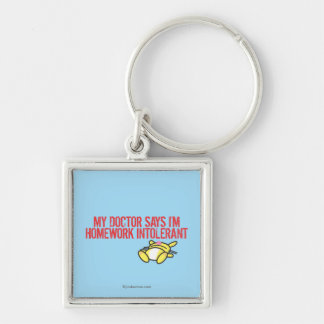 Homework Intollerant Silver-Colored Square Keychain