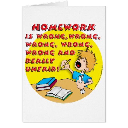 Homework is wrong! (boy) card