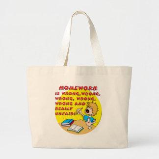 Homework is wrong! (boy) large tote bag