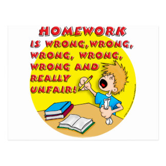 Homework is wrong boy postcards