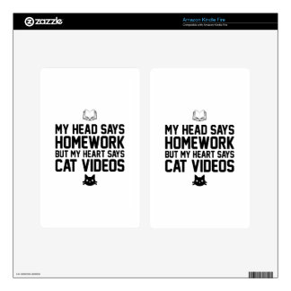 Homework or Cat Videos Kindle Fire Decal