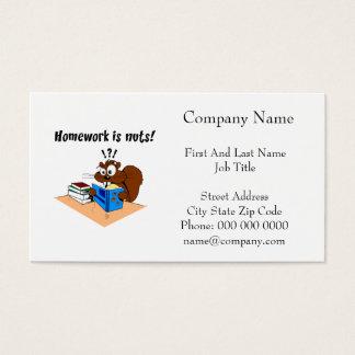 Homework Squirrel Cartoon Illustration Business Card