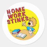 Homework Stinks! (boy) Classic Round Sticker