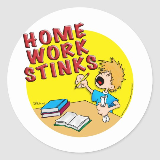 Homework Stinks! (boy) Classic Round Sticker