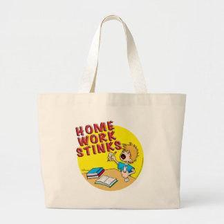 Homework Stinks! (boy) Large Tote Bag