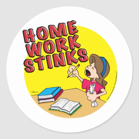 Homework Stinks (girl) Classic Round Sticker