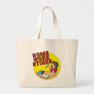 Homework Stinks (girl) Large Tote Bag