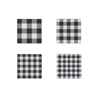 Homey Black and White Gingham Pattern Magnet Set