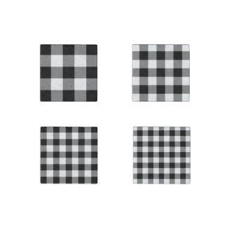 Homey Black and White Gingham Pattern Magnet Set Stone Magnet