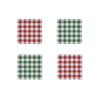 Homey Christmas Gingham Pattern Stone Magnet Set