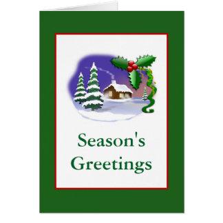 Homey Christmas Tree Card with SMoking Chimney