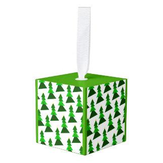Homey Christmas Tree Pattern Cube Ornament