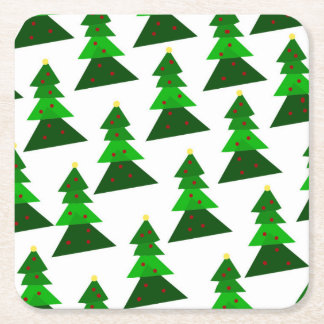 Homey Christmas Tree Pattern Square Paper Coaster