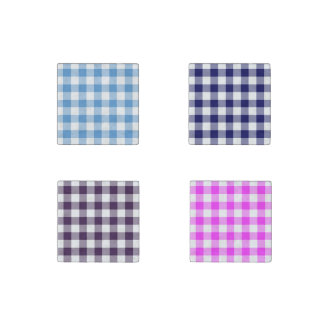 Homey Gingham Pattern Set: Blue, Pink, Purple Stone Magnet