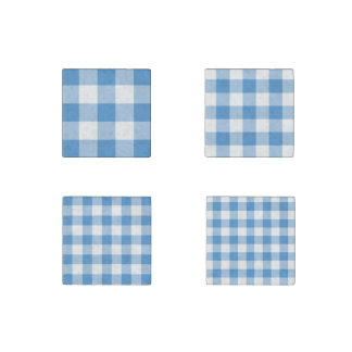 Homey Light Blue and White Gingham Pattern Magnets