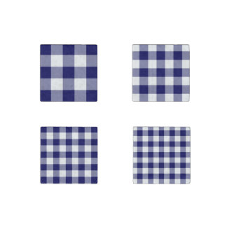 Homey Navy and White Gingham Pattern Magnet Set Stone Magnet