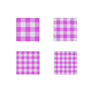 Homey Pink and White Gingham Pattern Magnet Set