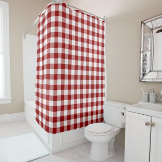 Homey Red and White Buffalo Plaid Shower Curtain