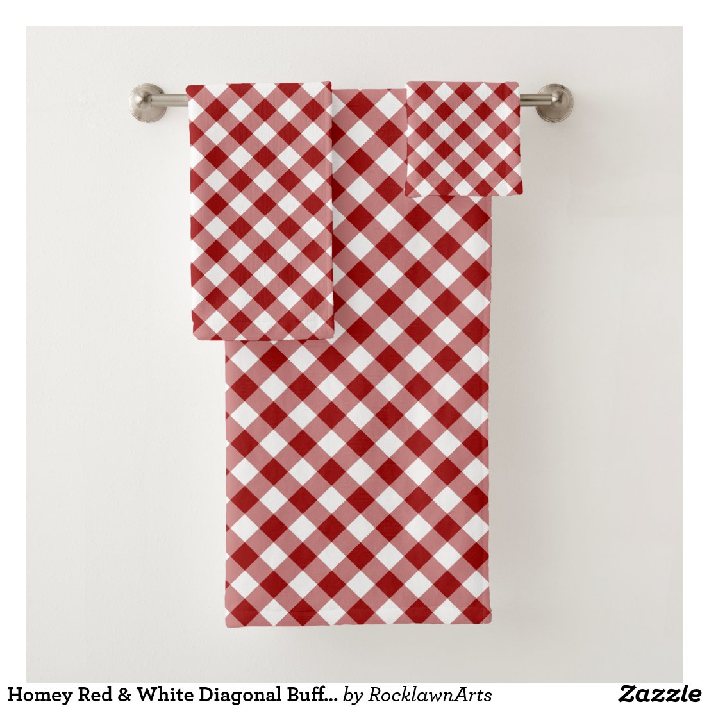 Homey Red & White Diagonal Buffalo Plaid Towel Set