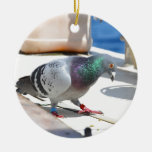 Homing Pigeon On A Yacht Double-Sided Ceramic Round Christmas Ornament