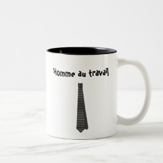 Homme au travail  (French version of Man at work) Two-Tone Coffee Mug