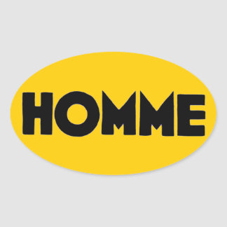 Homme Man Mankind Humanity French Yellow Black Oval Sticker