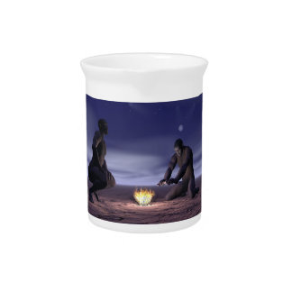 Homo erectus and fire - 3D render Beverage Pitcher