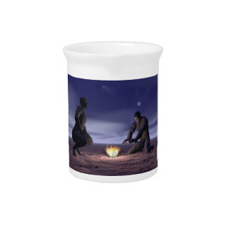 Homo erectus and fire - 3D render Drink Pitcher