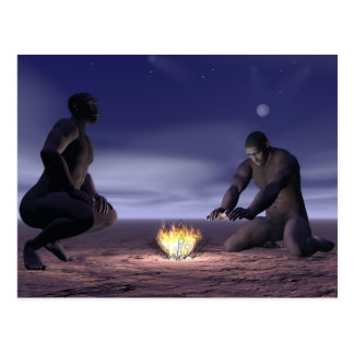 Homo erectus and fire - 3D render Postcard