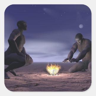 Homo erectus and fire - 3D render Square Sticker