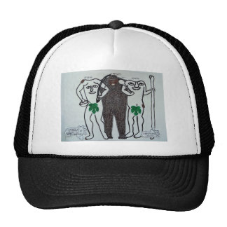 homo erectus con dos leyendas de ellos gorras