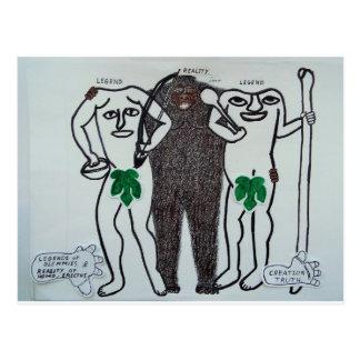 Homo erectus con dos leyendas postal