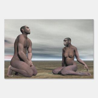 Homo erectus couple - 3D render Sign