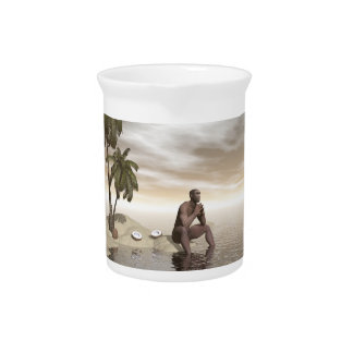 Homo erectus thinking alone - 3D render Beverage Pitcher