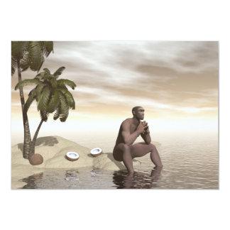 Homo erectus thinking alone - 3D render Card
