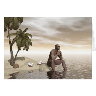 Homo erectus thinking alone - 3D render Card