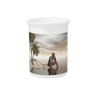 Homo erectus thinking alone - 3D render Drink Pitcher