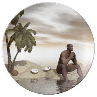 Homo erectus thinking alone - 3D render Porcelain Plate