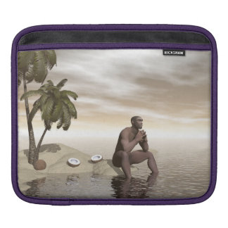 Homo erectus thinking alone - 3D render Sleeve For iPads