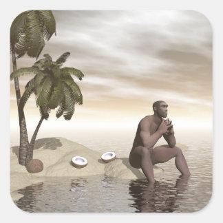 Homo erectus thinking alone - 3D render Square Sticker