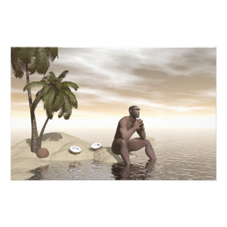Homo erectus thinking alone - 3D render Stationery