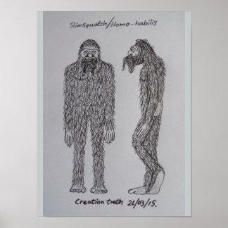 """Homo-habilis """"slimsquatch"""" sketch poster"""